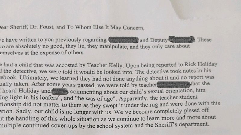 The letter accuses two sheriff's officials of improper behavior, and colluding with school...