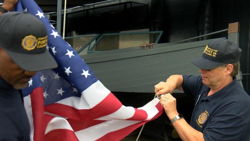 Raise the Flag Event on Battleship North Carolina