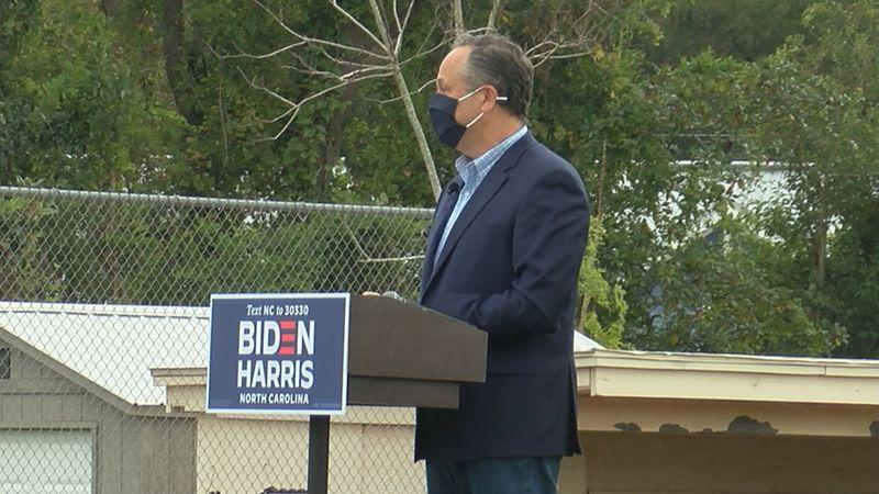 Doug Emhoff campaigns in Wilmington on behalf of his wife Sen. Kamala Harris and Joe Biden.