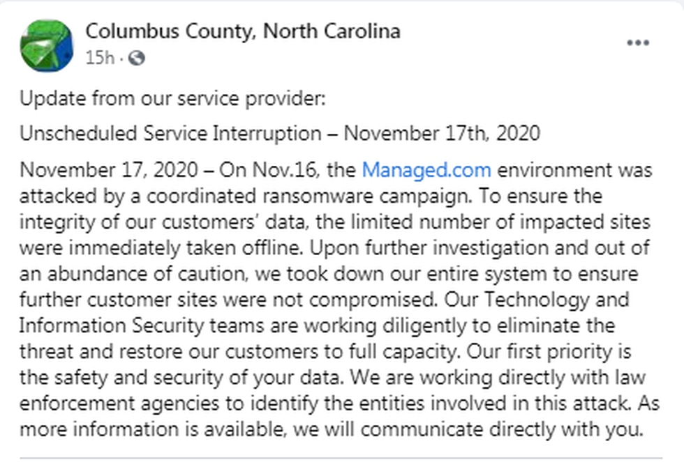 A ransomware attack has brought down Columbus County's website.