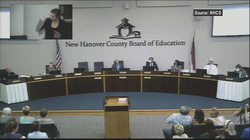 New Hanover County Board of Education meeting on Tuesday, July 13, 2021.