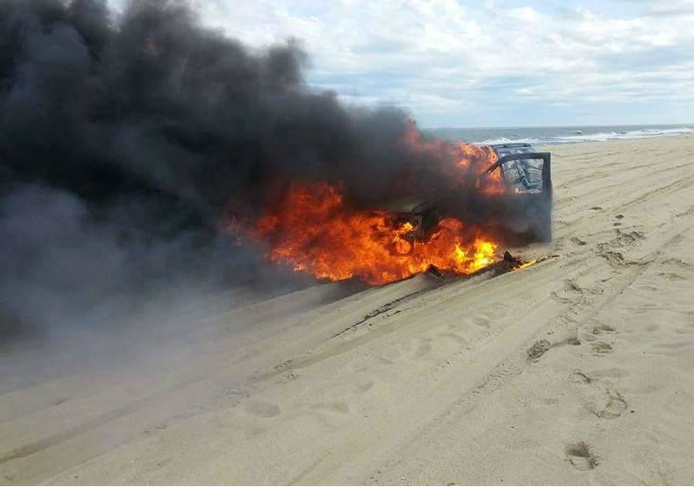 Car catches on fire at Fort Fisher. (Source: Chance Murray)
