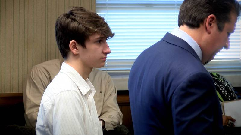 Hayden Long stands next to his attorney while appearing in Lincoln County juvenile court