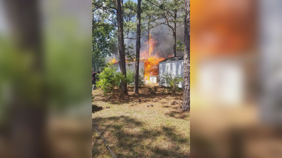 Crews respond to a shed fire in New Hanover County Saturday