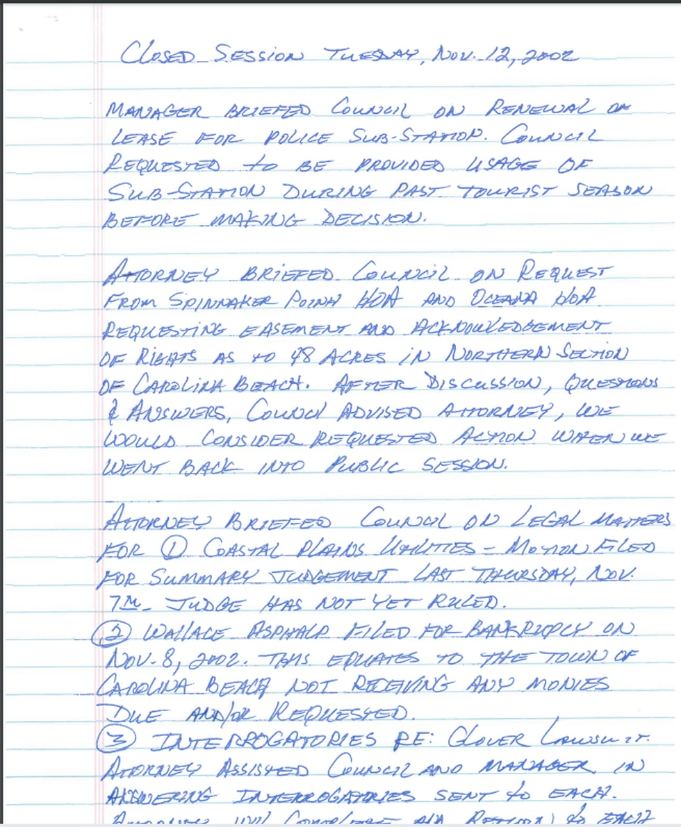 Meeting minutes from a 2002 meeting of Carolina Beach's Town Council.