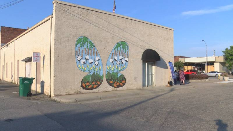 One of Bess Hinson Taylor's butterfly murals in Whiteville