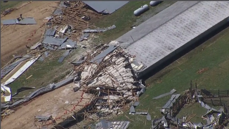 The meteorologist from the National Weather Service confirms a tornado hit the Biggers farm in...