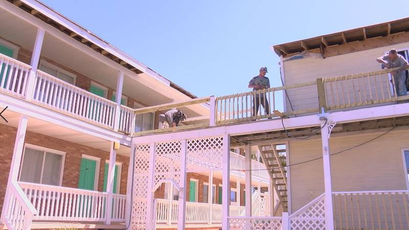 The Savannah Inn in Carolina Beach has a goal to open one building by Memorial Day weekend.