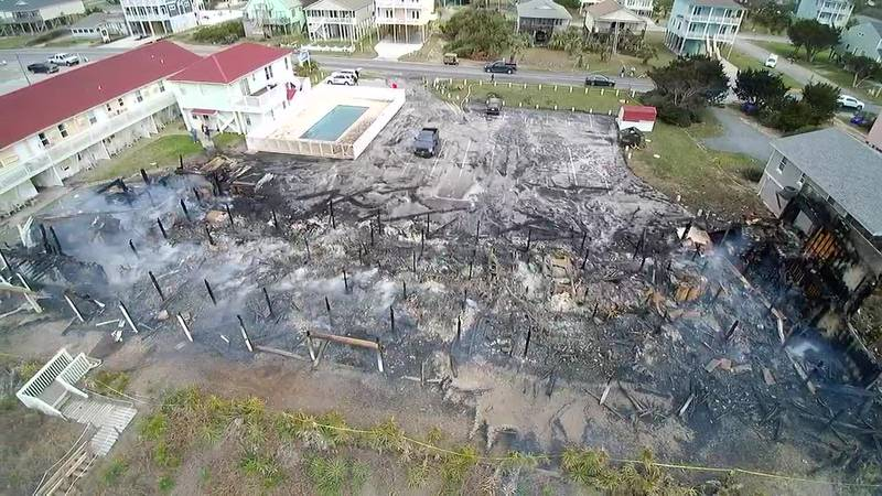 SKY TRACKER: A look over the damage of the Ocean Crest Motel in Oak Island