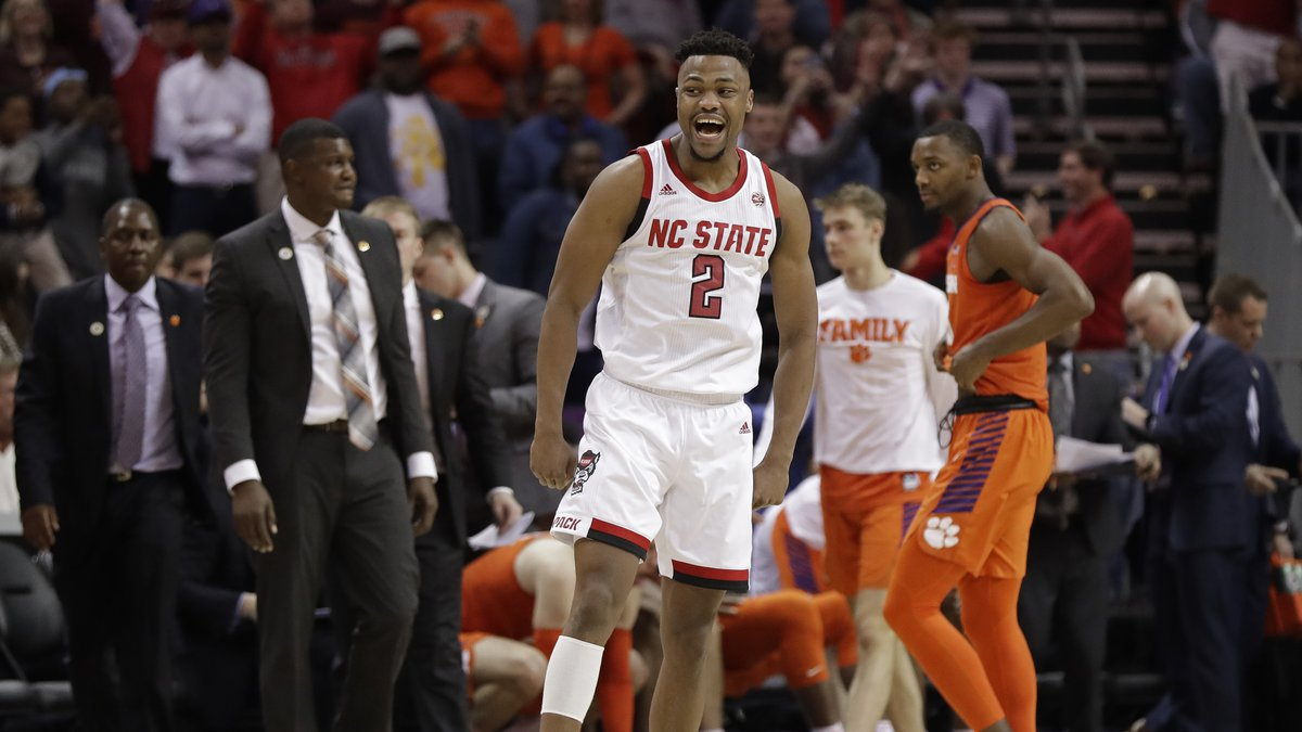 North Carolina State's Torin Dorn (2) reacts after his team defeated Clemson in an NCAA college...