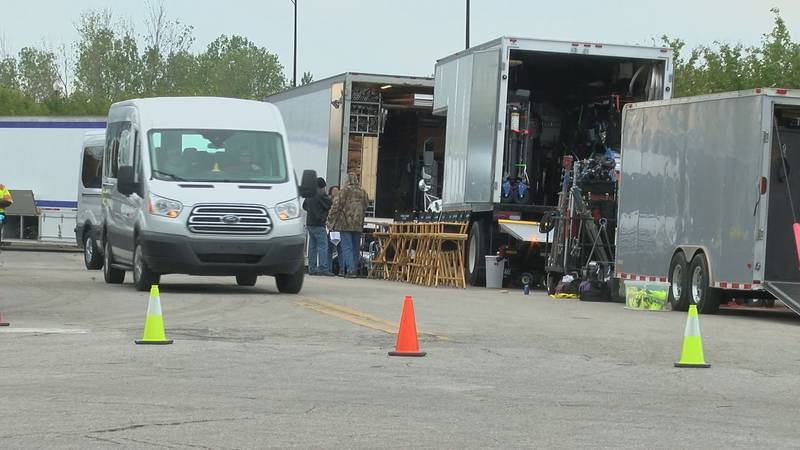 """Crews setting up to film scenes for television series """"Swamp Thing."""""""