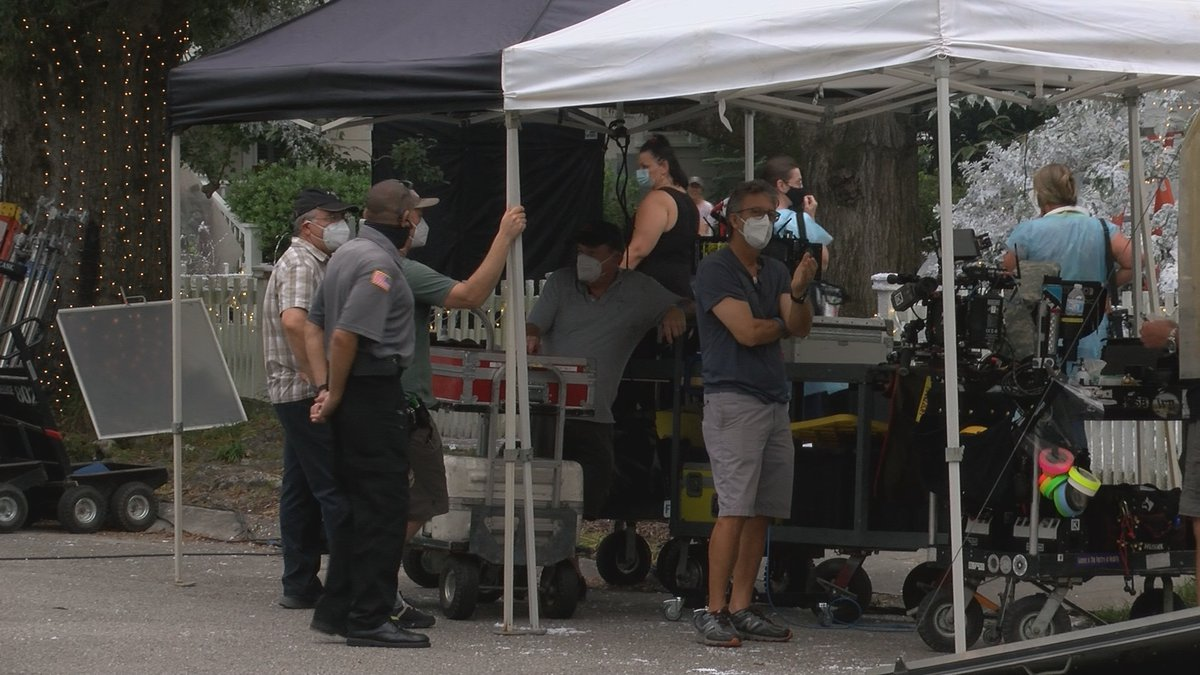 """Crews with Hallmark Channel's """"USS Christmas"""" filming at a home on Borden Avenue in Wilmington..."""