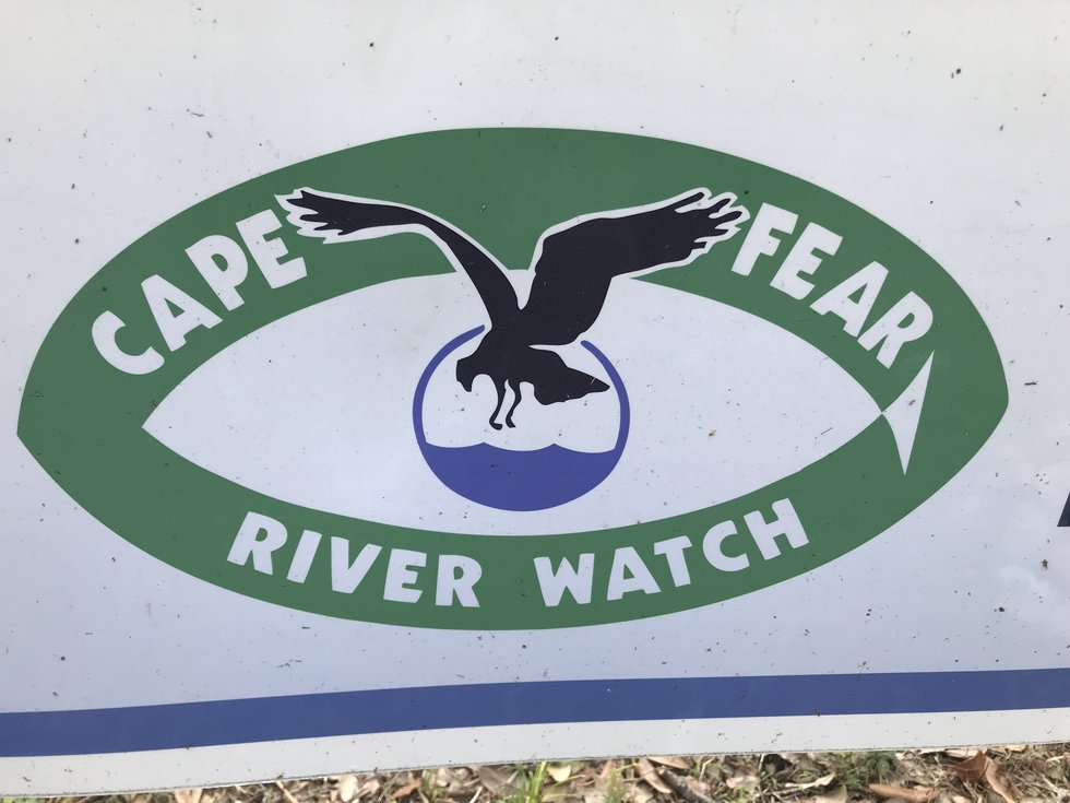 The Cape Fear River Watch sign is pictured outside the group's office in Wilmington.