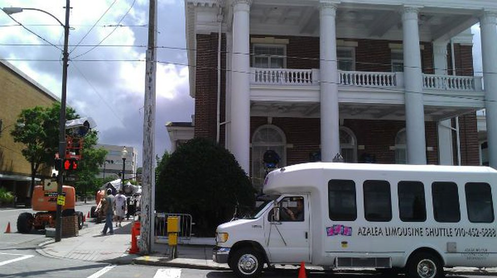 Film crews with Iron Man 3 wrapped up at the Cape Fear Club on Chestnut and Second Streets in...