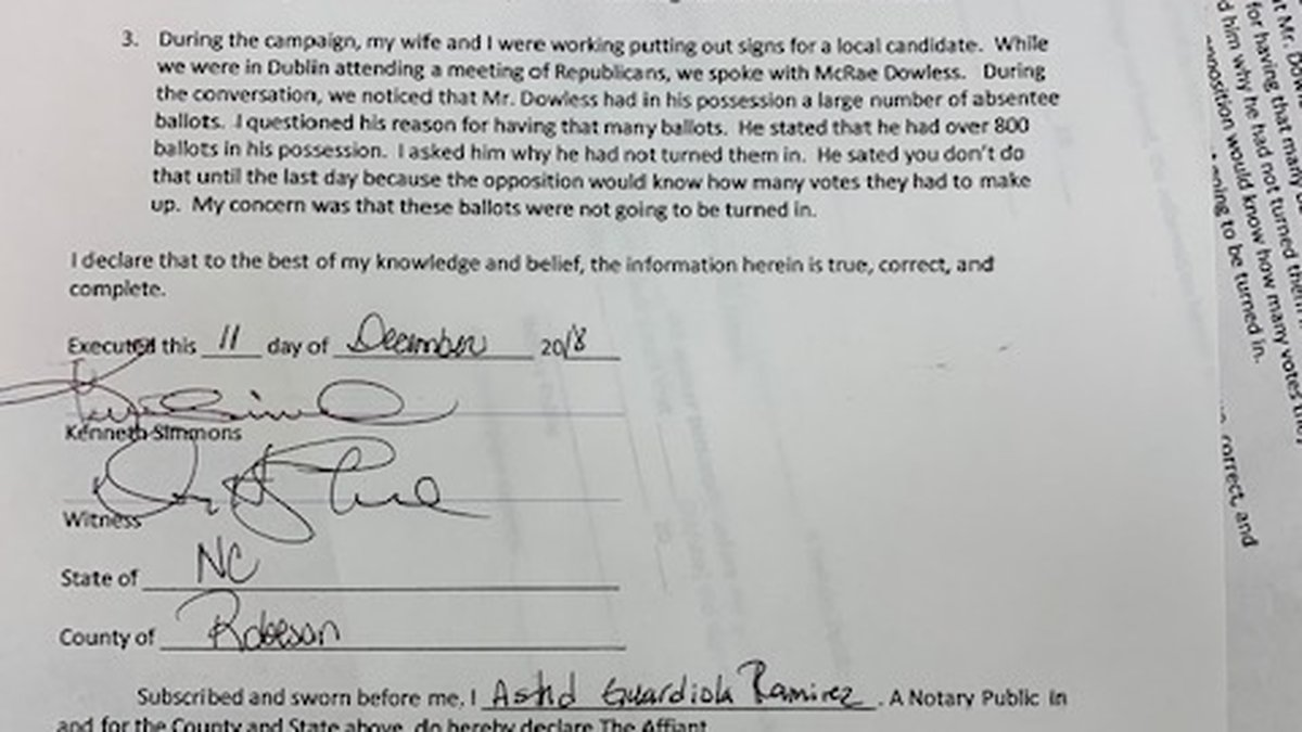 Kenneth Simmons said in an affidavit that McCrae Dowless had more than 800 ballots in his...