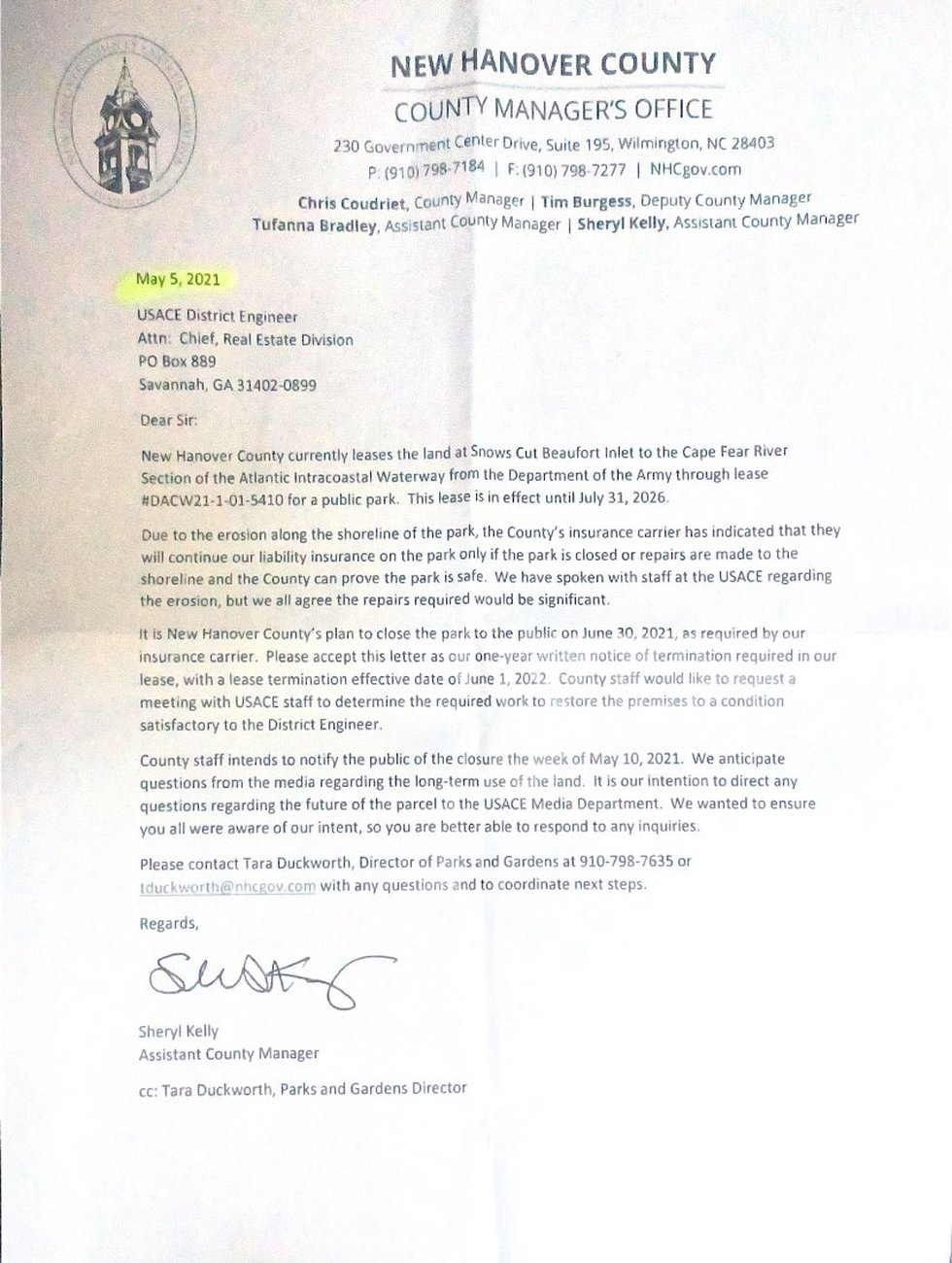 New Hanover County termination letter of lease with the U.S. Army Corps of Engineers.