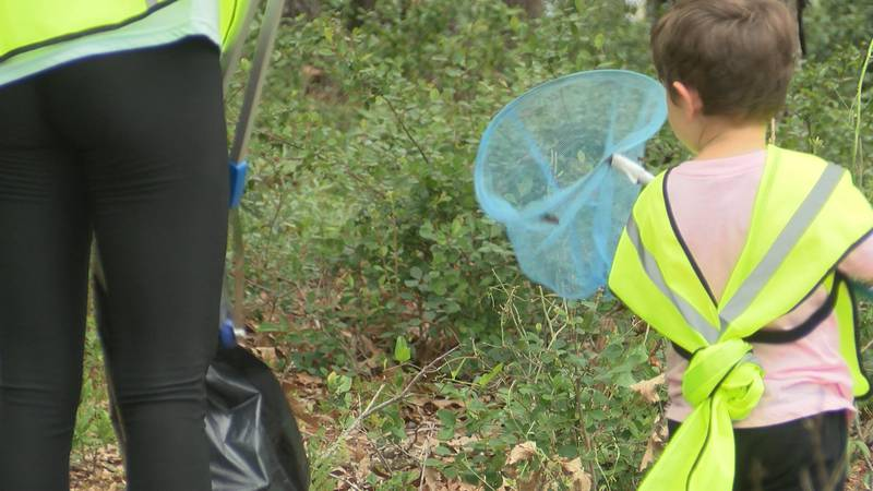 Volunteers of all ages picked up trash this morning