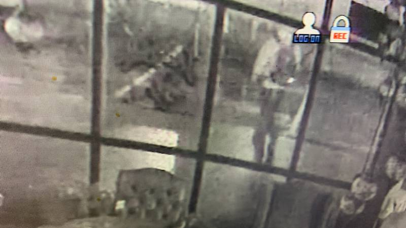 Break-in caught on camera outside of Jazzy's Party Rentals and Decorations.