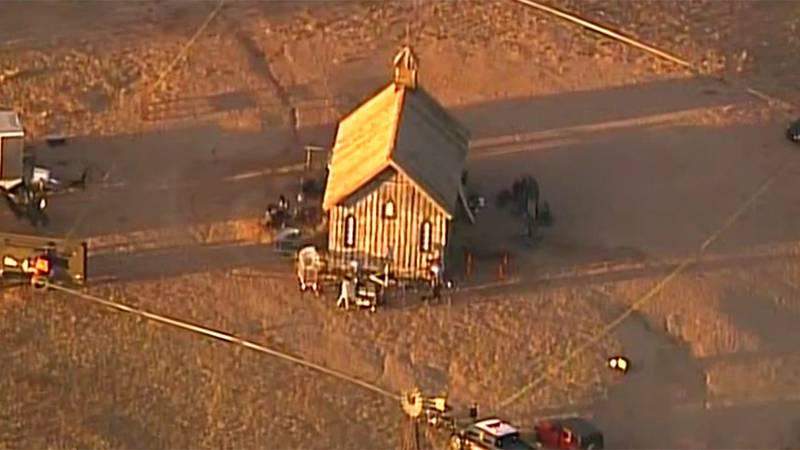 This aerial photo shows a film set at the Bonanza Creek Ranch in Santa Fe, N.M. Actor Alec...