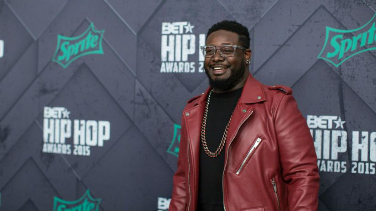 T-Pain poses for a photo at the 2015 BET Hip Hop Awards at the Atlanta Civic Center on Friday,...