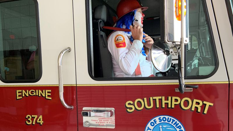 Southport Fire Clowns head out to perform a fire safety program during Fire Prevention Week