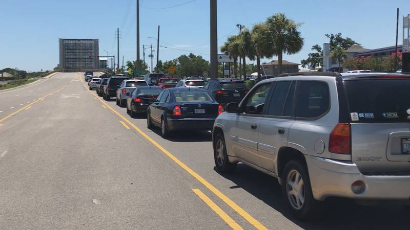 Traffic stops for a Wrightsville Beach drawbridge opening on Friday afternoon.