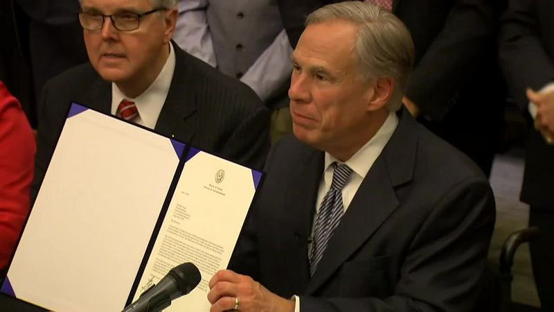Texas Gov. Greg Abbott announces the state is allocating $250 million for building a border...