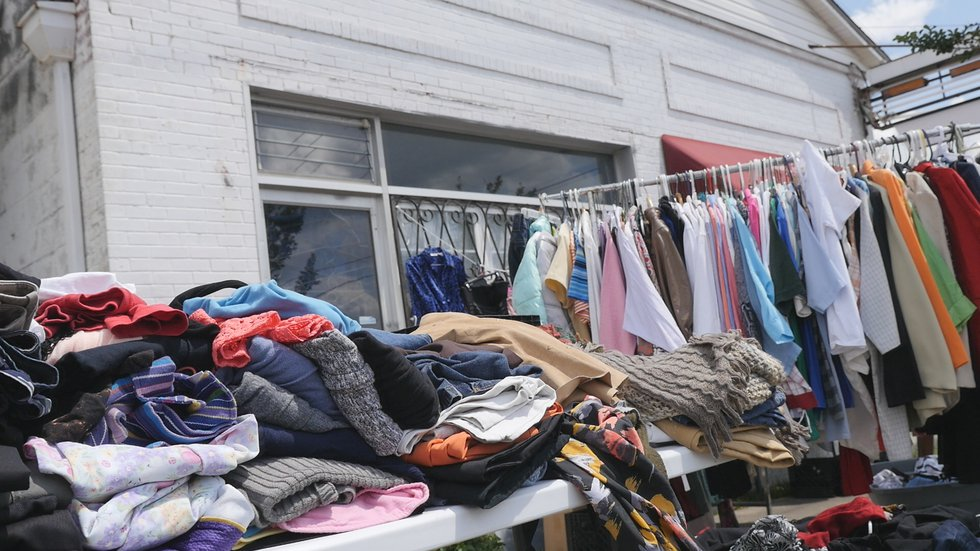 Plenty of clothing was available for people in need during Thursday's Northside Bridgebuilders...