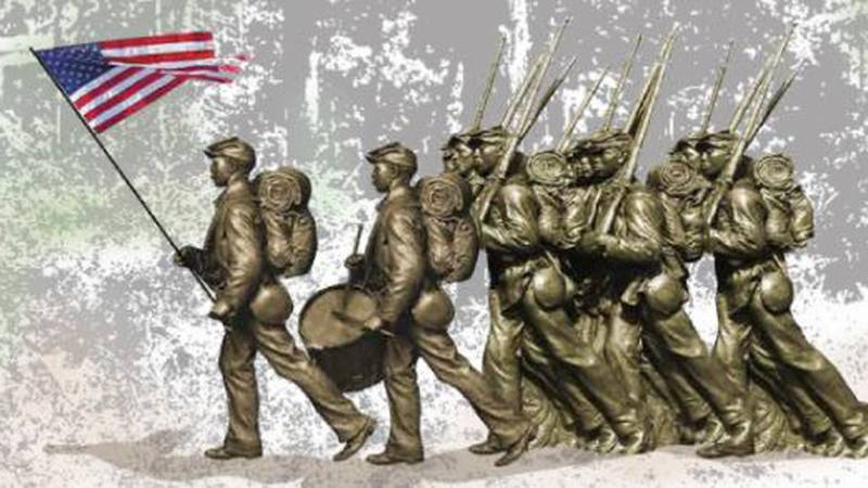 Artist Stephen Hayes created the sculpture of the United States Colored Troops that...