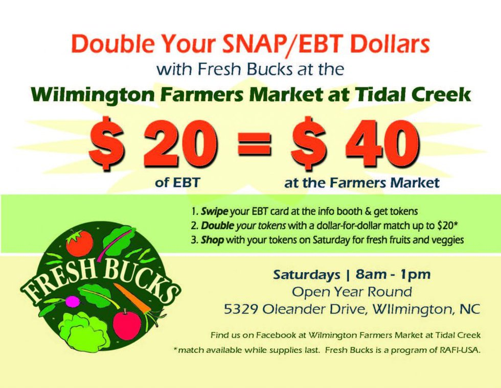 SNAP recipients can now use their benefits at the Wilmington Farmers Market at Tidal Creek....