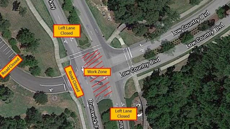 Construction is underway to install a roundabout at the intersection of Brunswick Forest...