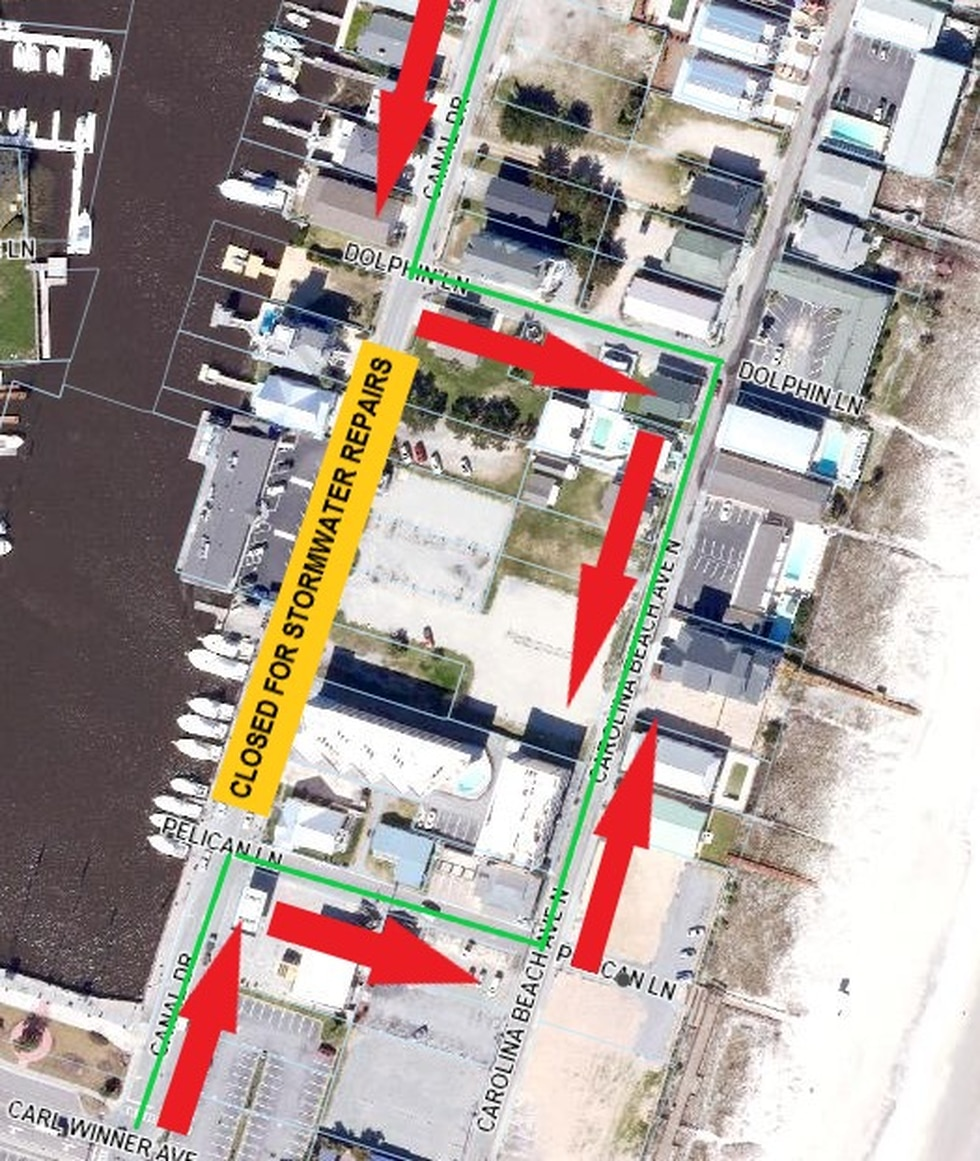 Carolina Beach officials say crews will close a section of Canal Drive Thursday evening to...