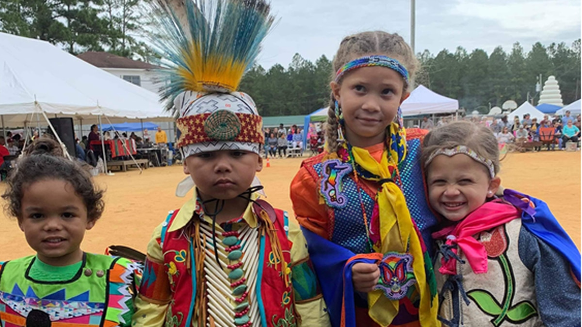 Children from the Waccamaw Siouan Tribe.
