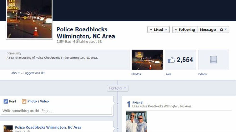 """A page on Facebook called """"Police Roadblocks in Wilmington, NC Area"""" calls drivers in the area..."""