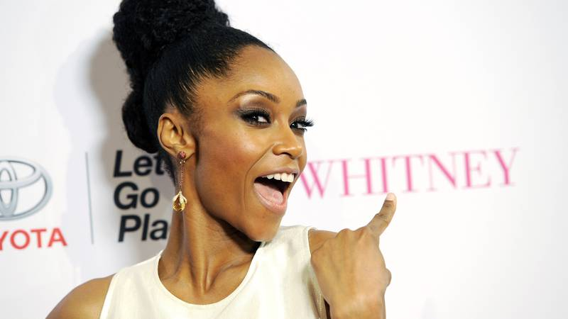 """Yaya DaCosta, star of the Lifetime film """"Whitney,"""" poses at the premiere of the film at the..."""