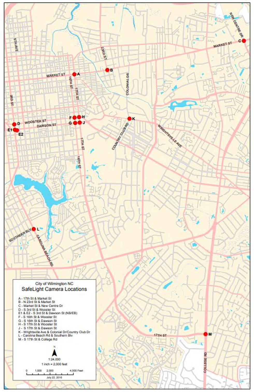 Wilmington has 13 red light cameras across the city