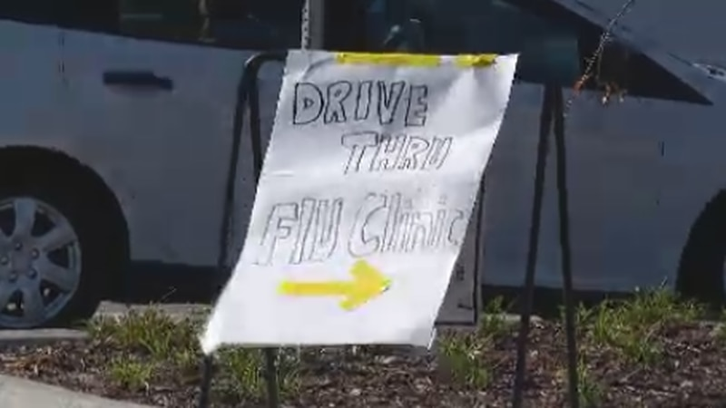 The drive-up clinics are being held Monday through Friday from 9 a.m. to 3 p.m. for two weeks