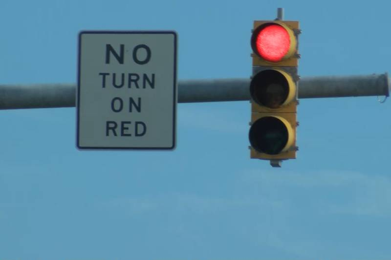 New No Turn on Red sign at the intersection of Olde Waterford Way and U.S. 17.